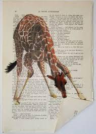 giraffe folding a paper original artwork hand by cocodeparis old book