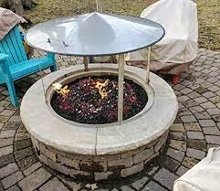 Amazon Com Fire Pit Metal Heat Shield Deflector Frame Cover 37 Dia Spark Screen Garden Outdoor
