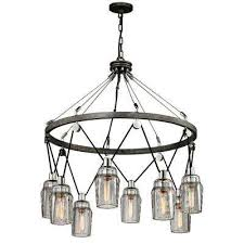 citizen 8 light graphite and polished nickel pendant with clear pressed glass shade