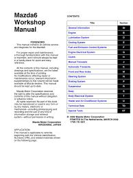 mazda 6 workshop manual vehicles