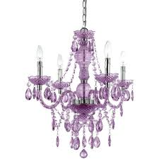plastic chandelier beads 4 light chrome mini with purple bead accents crystal