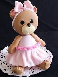 Pink Teddy Bear Cake Topper Baby Shower Birthday Cake Decoration