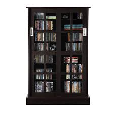 view a larger image of the atlantic windowpanes series wood media cabinet with sliding glass doors