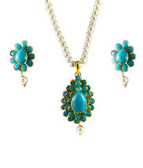 sa gold plated collection of oval shape turquoise color pacchi pendant set with moti chain pearl droplet sa gold plated collection of oval