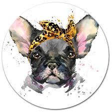 serious black french bulldog oil painting print on metal