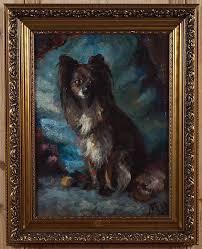 antique framed oil on canvas antique painting dog