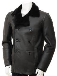 mens black sheepskin peacoat badworthy front