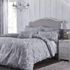 catherine lansfield damask jacquard silver duvet cover set kingsize