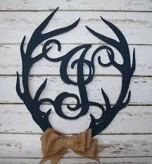 wood antler initial door wall hanging monogram deer antler custom from monogrammed home decor make it