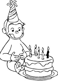Curious George Birthday Coloring Pages Party Birthday Coloring