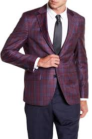 Sports Coat Rack Logan Burgundy Plaid Two Button Notch Lapel Wool Sport Coat Sport 95