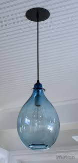 wonderful blue color hand blown glass pendant lights industrial