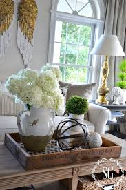I love the idea of putting the coffee table decor on a wooden tray. Looks