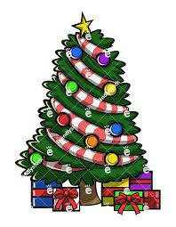 christmas trees decorated with presents. Plain Presents A Decorated Christmas Tree With Presents At Its Base  Cartoon Vector  Clipart Inside Trees F