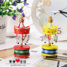 merry wood carousel horse ornaments mini beautiful wooden xmas children gift toys new year gifts pendant by free life03