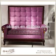 Purple Velvet High Back Loveseat Sofa For Hotel Room70