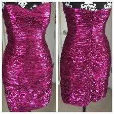 La Femme Sweetheart Neck Sequined Dress Brand New Fuchsia