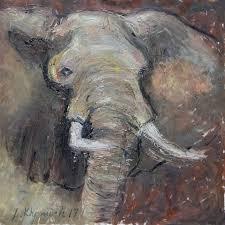 Animals <b>Elephant Oil Painting</b>, 36'' Original <b>Oil Artwork</b>, Picasso ...