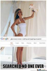 Glamorous Woman In Bathing Suit Laughing At A Parrot Memes. Best ... via Relatably.com