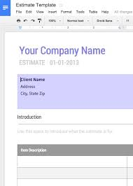 Estimates Templates Free Work Estimate Template Free For Google Docs