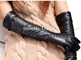 black long leather gloves for women warman dress glove with botton 1 pair lot