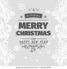 Merry Christmas Greetings Black White Card Stock Vector Royalty
