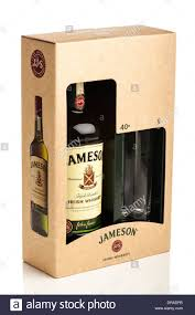 jameson irish whiskey gift pack including tumbler gl in box still life studio photograph on white background