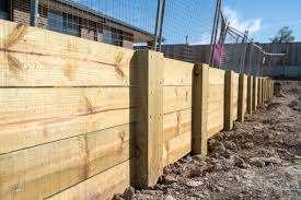 retaining wall made of wood timber