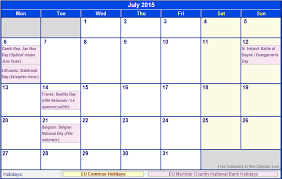July 2015 Eu Calendar With Holidays For Printing Image Format