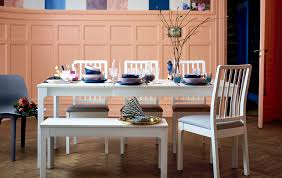 ikea white living room furniture. A Long White Dining Table, Chairs And Bench Set With Colourful Tableware. Ikea Living Room Furniture