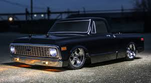 1/10 1972 Chevy C10 Pickup Truck V-100 S 4WD Brushed RTR, Black ...