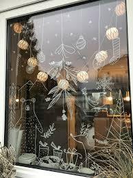 Kreidemarker Auf Glas Bemalen Sie Das Fenster Mit Dem