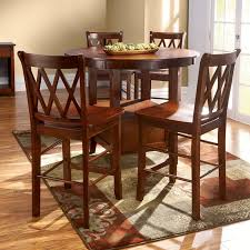 simple dining room ideas with high top table sets and four wooden chairs plus brown carpet