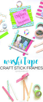these washi tape craft stick frames are a fun craft project for both kids and s