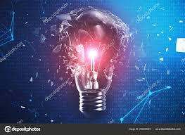 Binary Light Bulbs 3d Illustration Exploding Light Bulb On A Blue Background