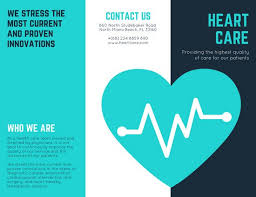 Patient Brochure Templates Turquoise Heart Vector Medical Brochure Templates By Canva