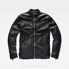 g star raw mower slim leather jacket in black g star men