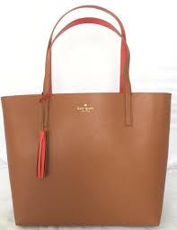 kate spade marina lakeland drive warm cognac reversible leather tote bag