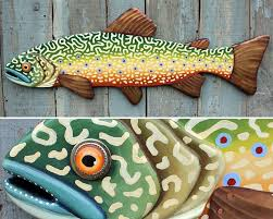 37 brook trout large fish wall art lodge decor wood trout sculpture colorful folk art fish handcrafted in vermont unique gift wood