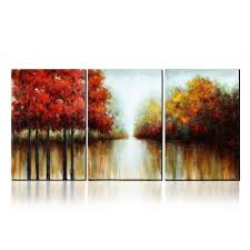 for asmork 100 hand painted autumn scenery trees landscape southwest panel wall art oil paintings on canvas paintings home decor ready to hang artwork
