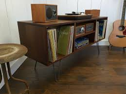 New mid century modern record player console turntable cabinet
