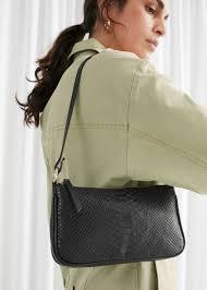 Croc Leather <b>Mini Shoulder Bag</b> - Black - Shoulderbags - & Other ...