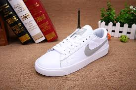 nike tennis classic ac blazer leather men s and women s white silver board shoes 429891