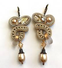 antique gold crystals and pearl drop chandelier earring with frosted glass bead