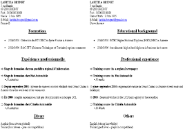 Curriculum Vitae Samples Example Of Curriculum Vitae In French On Left And In English