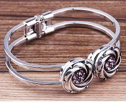 10pcs fashion design alloy interchangeable double snap expandable diy jewelry ons bracelet bangles fot for 18mm
