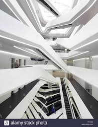 Curved Architecture Overall View Of Interconnecting Staircases And Curved Balonies