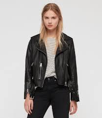women s balfern leather biker jacket black image 5