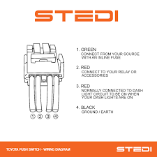 stedi blog toyota push led light switch wiring instructions instructions on how to wire the stedi oe push button switch