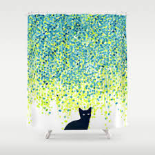 green and grey shower curtain. cat in the garden under willow tree shower curtain green and grey